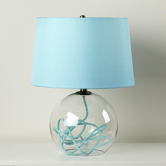 aqua blue crystal ball table lamp the land of nod clear glass lamp. Black Bedroom Furniture Sets. Home Design Ideas