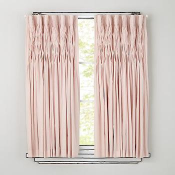 Window Treatments - Antique Chic Curtain Panels | The Land of Nod - pink ruched curtains, pink ruched drapes, pink drapes, pink curtains,