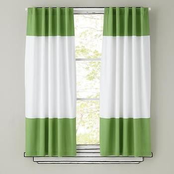 Window Treatments - Green and White Curtain Panels | The Land of Nod - green and white striped curtains, green and white striped drapes, green and white striped panels,
