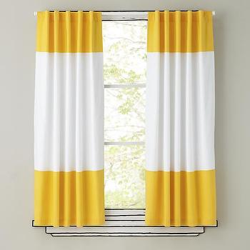 Window Treatments - Yellow and White Curtain Panels | The Land of Nod - yellow and white striped curtains, yellow and white striped drapes, yellow and white striped panels,