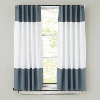 Window Treatments - Grey and White Curtain Panels | The Land of Nod - gray and white striped curtains, gray and white striped panels, gray and white striped drapes,