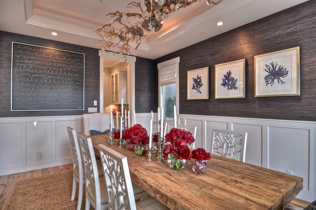 Gray Grasscloth Wallpaper Dining Room