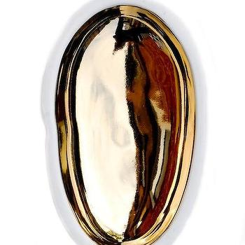 Decor/Accessories - Gold Glazed Porcelain Pebble Dish | LEIF - gold dish, gold glazed porcelain dish, white dish with gold interior,