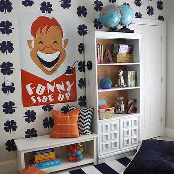 Emily A. Clark - nurseries - Kids Reading (Book) Nook, clover stenciled wall, striped rug, navy, white, orange, bookshelves, vintage poster print, floor pillow, plaid, chevron.,