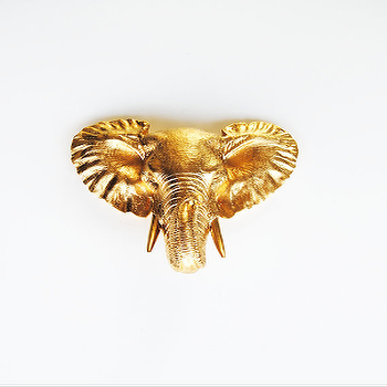 Art/Wall Decor - The Phineas | Gold Mini Elephant Head | White Faux Taxidermy - gold elephant wall decor, gold elephant head wall sculpture, gold mini resin elephant head,