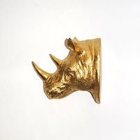 Art/Wall Decor - The Bernice | Rhino Head | White Faux Taxidermy - mini gold rhino head, gold rhino head wall decor, gold rhino head wall sculpture,