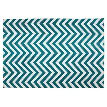 Rugs - Zig Zag Rug I Zara Home - teal and white zig zag rug, teal and white chevron rug, teal chevron rug,
