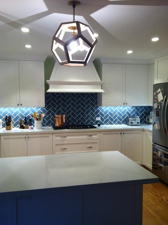 28 blue herringbone tile kitchen backsplash for Blue kitchen backsplash ideas