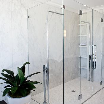 His and Her Shower Heads, Contemporary, bathroom, Marsh and Clark