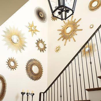 Traditional Home - entrances/foyers - sunburst mirror, brass sunburst mirrors, sunburst mirrors gallery, gold sunburst mirror,  Grand foyer staircase
