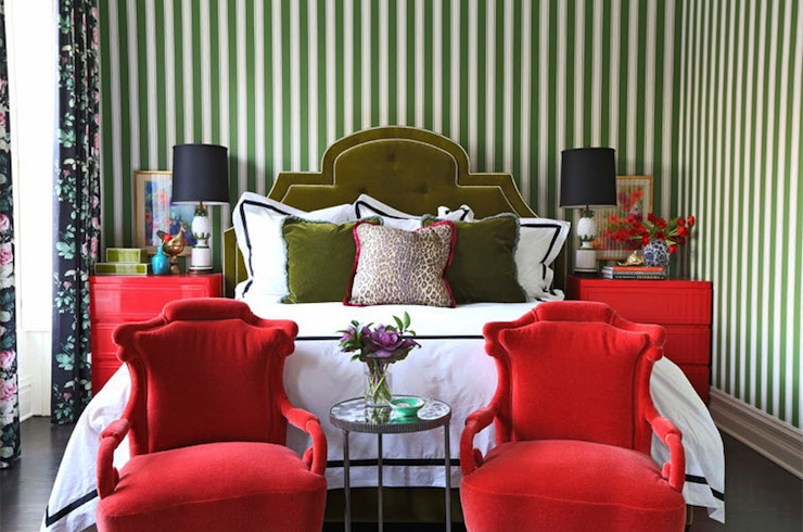Green And Red Bedroom Eclectic Bedroom Summer
