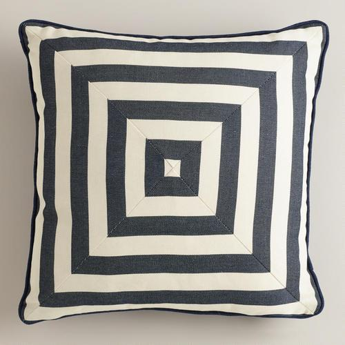 Navy And White Striped Throw Pillow : Navy Stripe Throw Pillow World Market