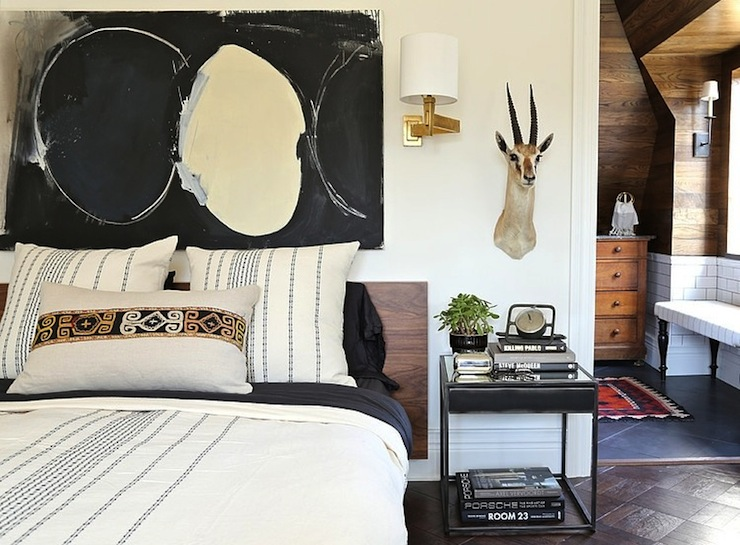 Black and white abstract art contemporary bedroom for Summer thornton design