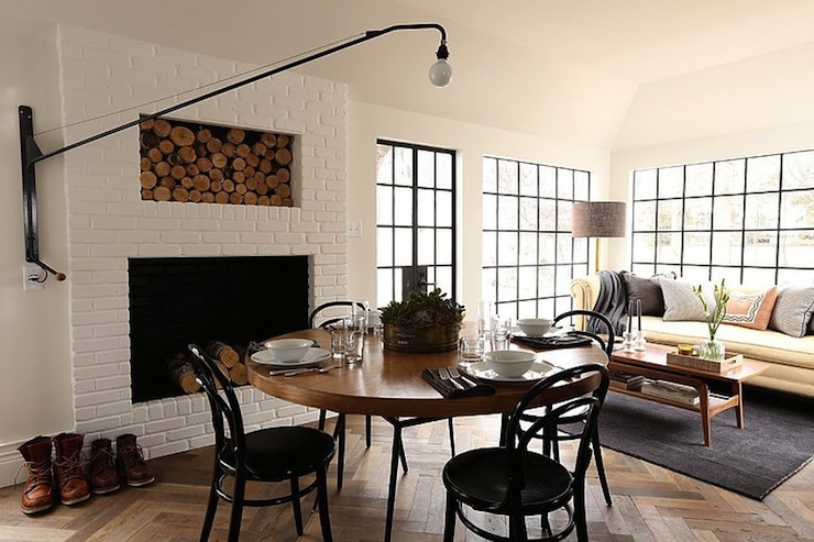 Fireplace Firewood Nook Transitional Dining Room