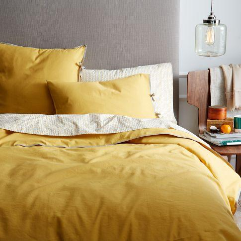 Linen Cotton Blend Duvet Cover Shams Golden Gate