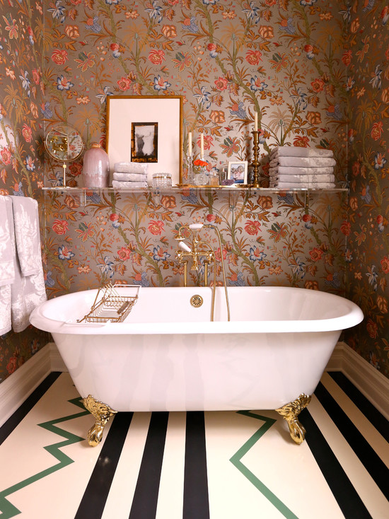 Floral metallic wallpaper eclectic bathroom summer for Floral bathroom wallpaper