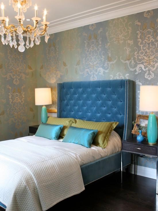 Blue velvet tufted headboard contemporary bedroom for Velvet bedroom designs