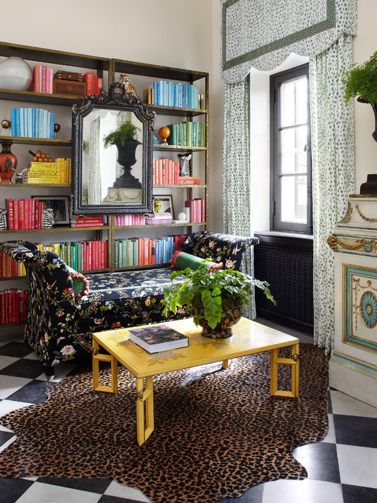 Floral chintz sofa eclectic den library office for Summer thornton design