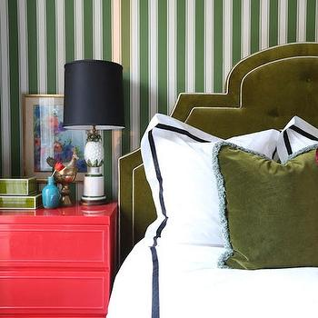 Green Velvet Headboard, Eclectic, bedroom, Summer Thornton Design