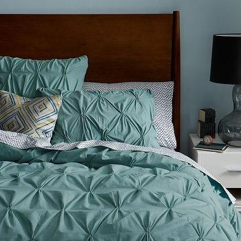 Bedding - Organic Cotton Pintuck Duvet Cover + Shams - Oceania | west elm - light teal pintuck bedding, light teal bedding, light teal duvet cover, light teal pintuck duvet, light teal pintuck shams,