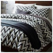 Bedding - Zigzag Layered Bed Set | west elm - black white and gray zig zag bedding, zig zag bedding, black white and gray graphic bedding,