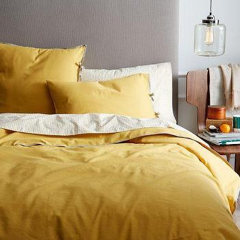 Bedding - Linen Cotton Blend Duvet Cover + Shams - Golden Gate | west elm - yellow linen bedding, yellow bedding, mustard yellow bedding, yellow duvet color, yellow pillow shams,