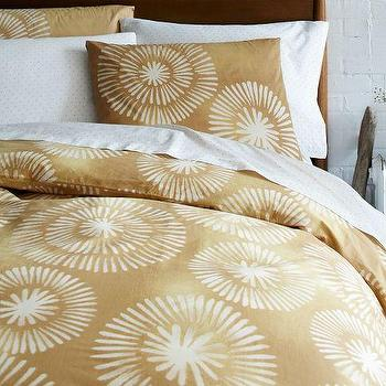 Bedding - Honey Blossom Layered Bed Set | west elm - gold and ivory colored bedding, graphic gold toned bedding, bold gold and ivory patterned bedding,