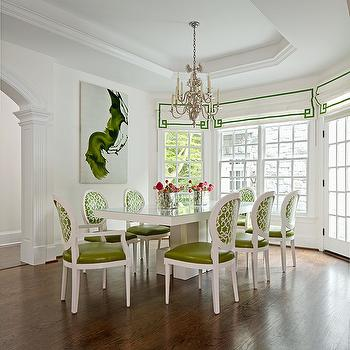 Kellie Burke Interiors - dining rooms - white and green dining room, emerald green art, abstract art, emerald green abstract art, greek key roman shade, white and green roman shades, white and green greek key roman shades, white lacquer dining table, white dining table, white rectangular dining table, rectangular white dining table, white and green dining chairs, french dining chairs, green dining chairs, trellis chairs, trellis dining chairs, green trellis dining chairs, tray ceiling, deining room tray ceiling, tray ceiling dining room,