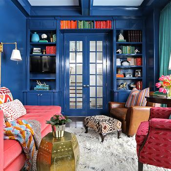 Teal Curtains, Eclectic, den/library/office, Summer Thornton Design