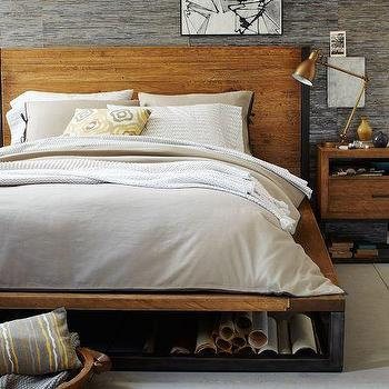 Beds/Headboards - Copenhagen Bed Frame | west elm - iron based wooden bed, iron based bed frame with wooden headboard, industrial iron based bed frame with wooden headboard,