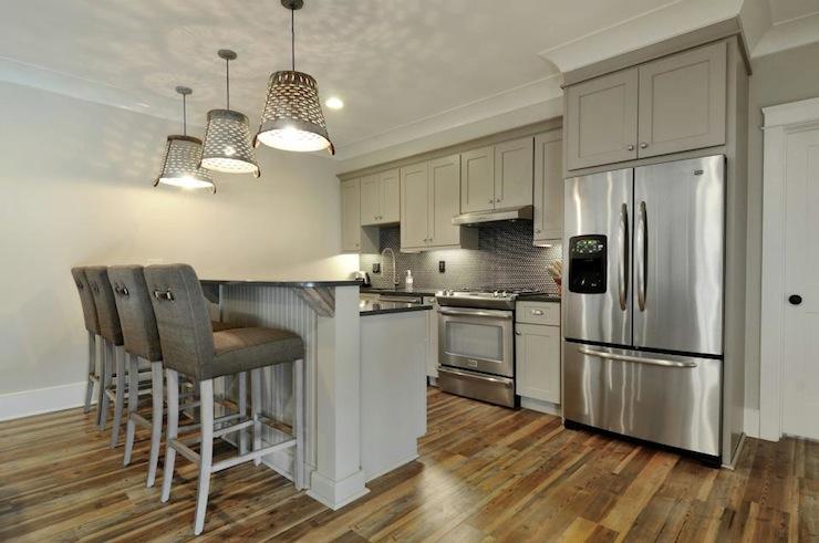 Gray Bar Stools Transitional Kitchen Insidesign
