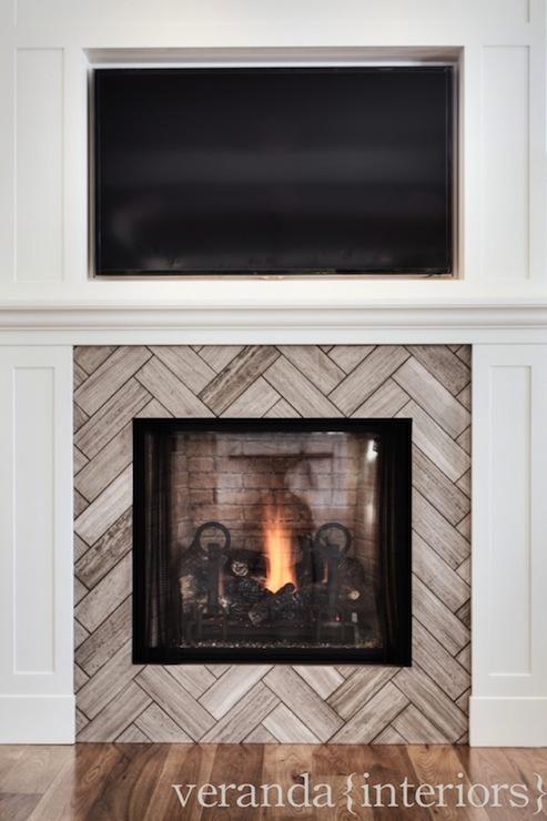 Herringbone Fireplace Contemporary Living Room Veranda Interiors