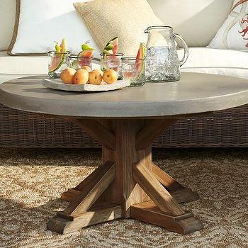 Tables - Abbott Concrete Top Round Coffee Table | Pottery Barn - concrete topped coffee table, outdoor wood based concrete topped coffee table, concrete topped coffee table with wood base,