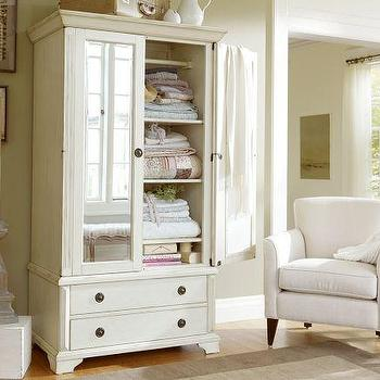 Storage Furniture - Sofia Armoire | Pottery Barn - mirror fronted armoire, mirror front armoire, weathered gray mirror front armoire,