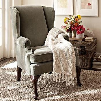 Seating - Gramercy Wingback Chair | Pottery Barn - taupe wingback chair, wingback chair, double scroll arm wingback chair,