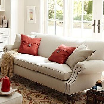 Seating - Brooklyn Sofa | Pottery Barn - linen colored sofa with nailhead trim, traditional style sofa with nailhead trim,