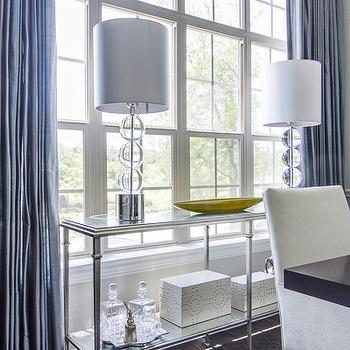 Blue Curtains, Contemporary, dining room, EJ Interiors