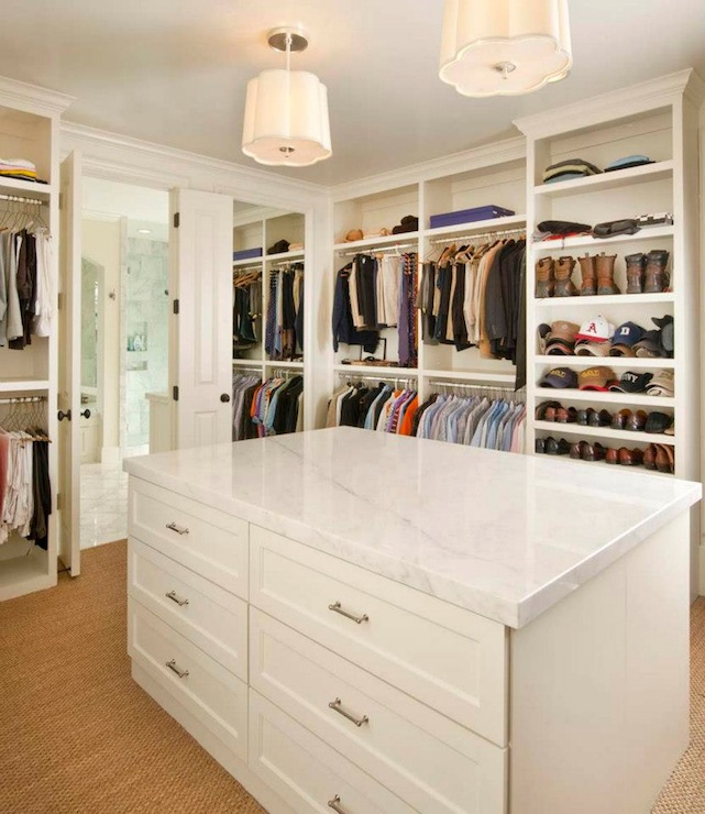 Closet island traditional closet ellen grasso sons for Walk in closet with island