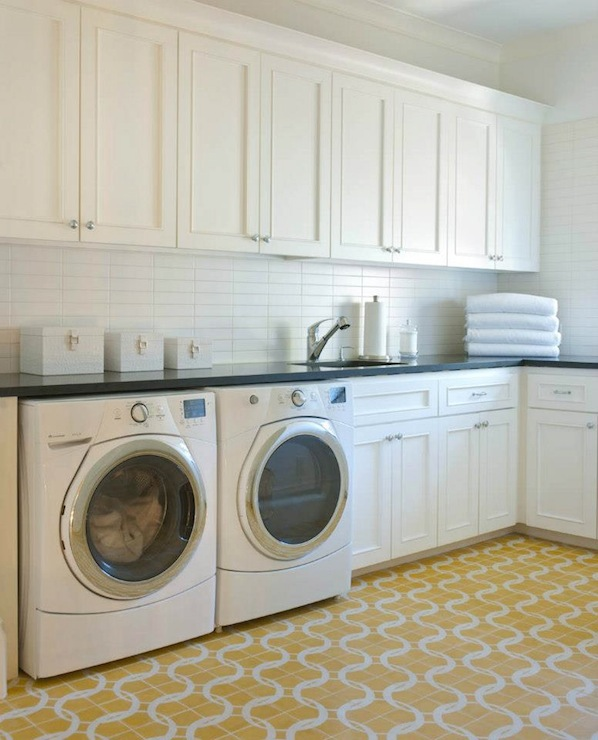 tiles yellow and white patterned floor tiles white laundry room