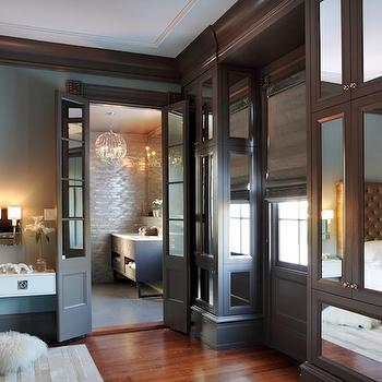 Mirrored Cabinets, Contemporary, bedroom, Rethink Design Studio