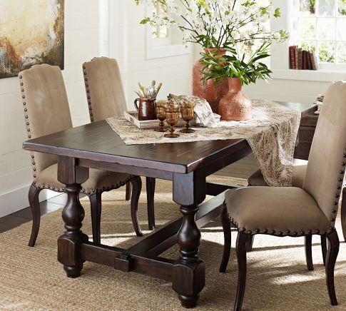 Cortona fixed dining table pottery barn for Dining room tables pottery barn