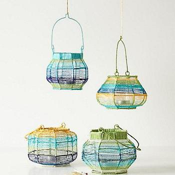 Decor/Accessories - Harbin Votive Lantern I Anthropologie.com - green blue and yellow woven lanterns, votive lanterns, multi-colored votive lantern,