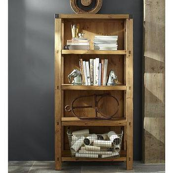 Storage Furniture - Hendrix Bookcase | Pottery Barn - pine bookcase, rustic pine bookcase, vintage style pine bookcase,