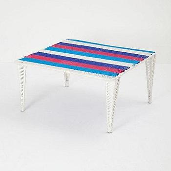 Tables - Handwoven Lita Table, Short I Anthropologie.com - red white and blue woven table, woven table, striped woven topped table,
