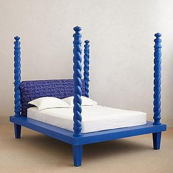 Beds/Headboards - Cobalt Four Poster Bed I Anthropologie.com - cobalt blue bed, cobalt blue four poster bed, blue four poster bed,