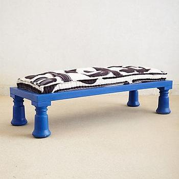 Seating - Cobalt Bench I Anthropologie.com - cobalt blue bench with black and white cushion, blue bench with black and white seat cushion,