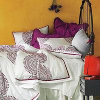 Bedding - Imogen Duvet I Anthropologie.com - purple and white patterned bedding, purple and white moroccan inspired bedding, purple and white patterned duvet cover,
