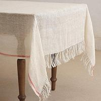 Decor/Accessories - Coral Stripe Tablecloth I Anthropologie.com - linen tablecloth, rustic linen table cloth, linen tablecloth with a coral stripe,