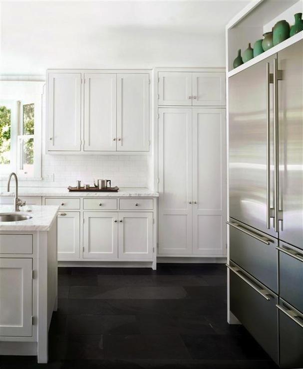 Black Kitchen Cabinets And White Appliances: Sub Zero Refrigerator