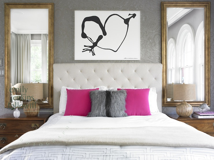 gray damask wallpaper contemporary bedroom emily followill